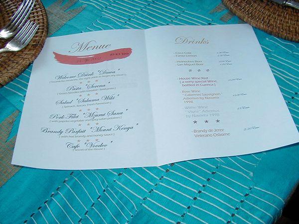 Events im Casa Simba in Estepona, Marbella - Menükarte